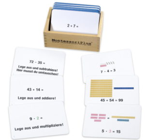 Arbeitskarten zu den Montessori Rechenstäbchen im Zahlenruam bis 100