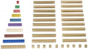 Montessori-Würfelmaterial zu den Seguintafeln.