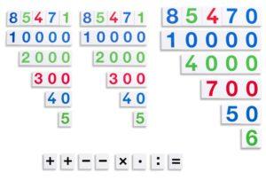 Montessori Zahlentafeln 3er-Satz zur Darstellung von Zahlen