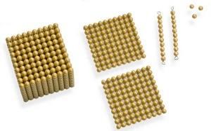 Goldenes Montessori Perlenmaterial.