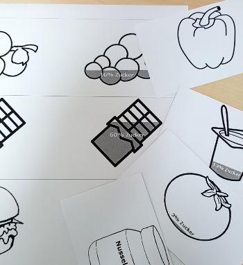Lernkartei zum Zuckergehalt von Lebensmitteln.