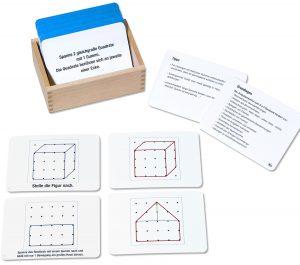 Arbeitskartei mit 100 Karten zum Geobrett 5 x 5
