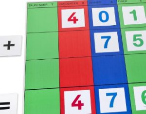 abstrakter werdendes Montessori-Material - hier Stellenwerttafel