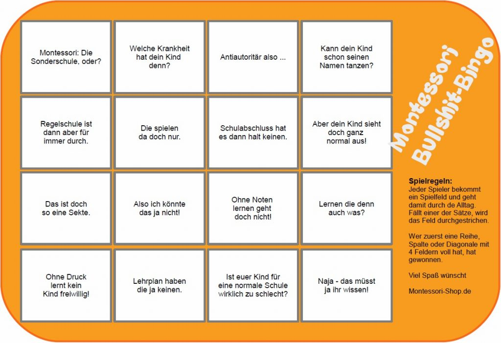 Montessori-Bullshit-Bingo zum Download als PDF