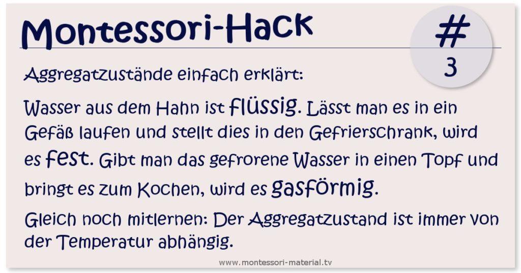 Montessori Hack 3 - Aggregatzustände einfach erklären