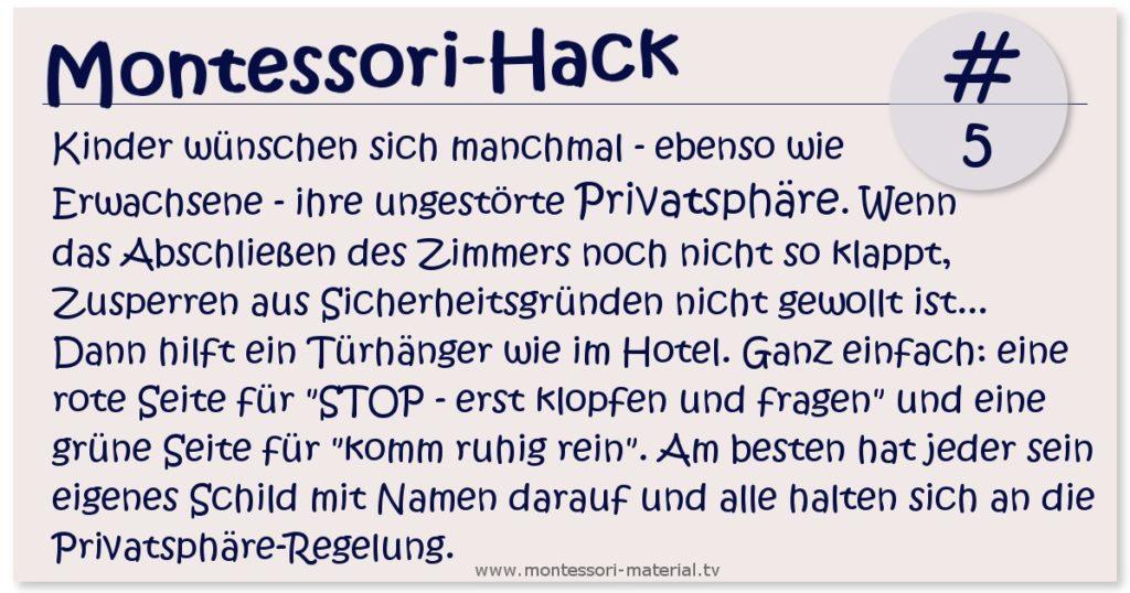 Montessori Hack Privatspähre