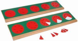 Montessori Bruchkreise aus Metall zum Brüche lernen