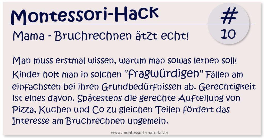 Montessori Hack - Bruchrechnen ätzt