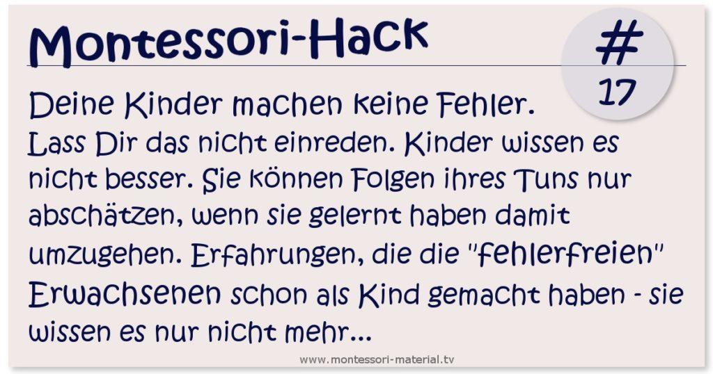 Montessori-Hack #1 Kinder machen keine Fehler