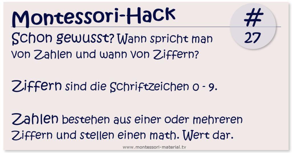 Montessori Hack Ziffern und Zahlen