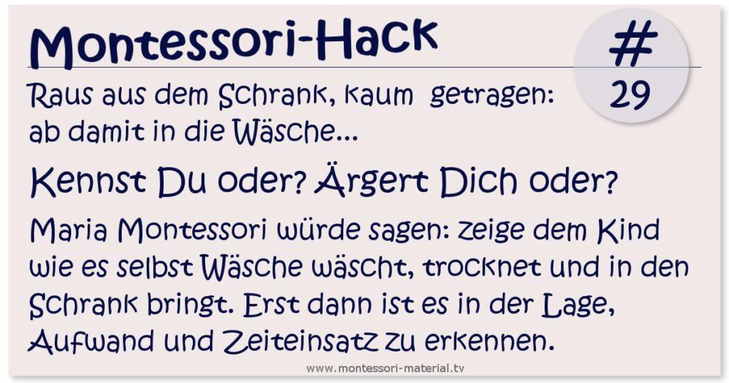 Montessori-Hack #29 Wäsche waschen