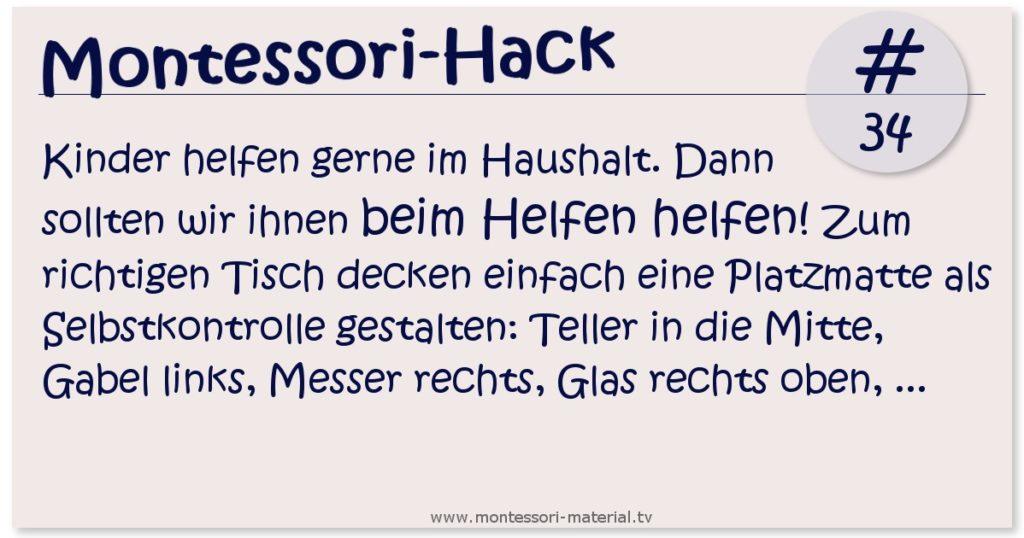 Montessori-Hack 34 - Tiswch decken lernen