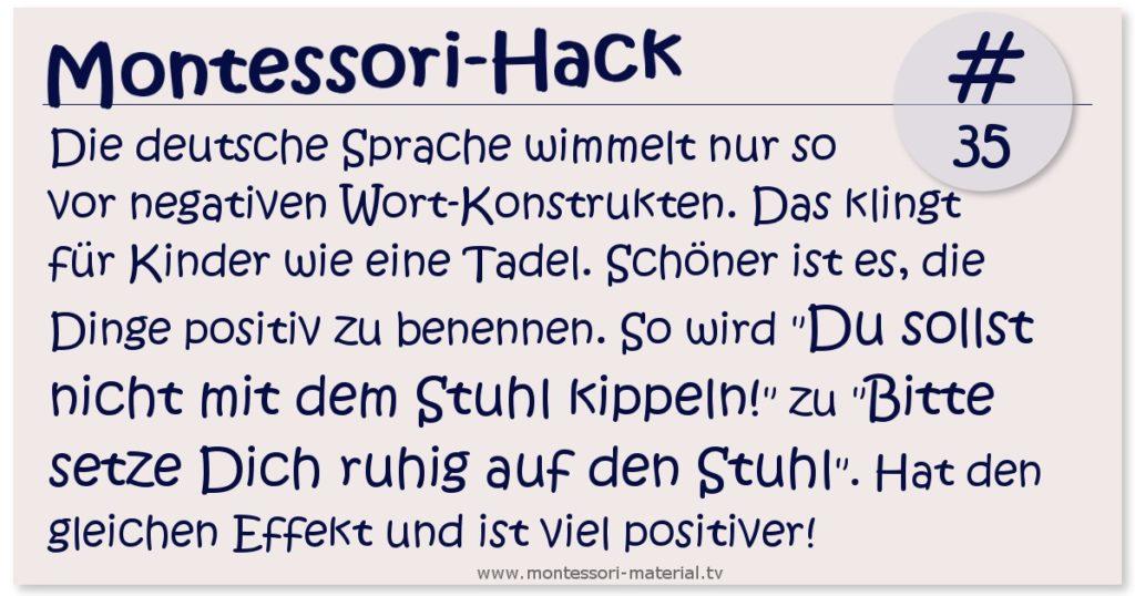Montessori-Hack #35 positive Sprache klingt besser