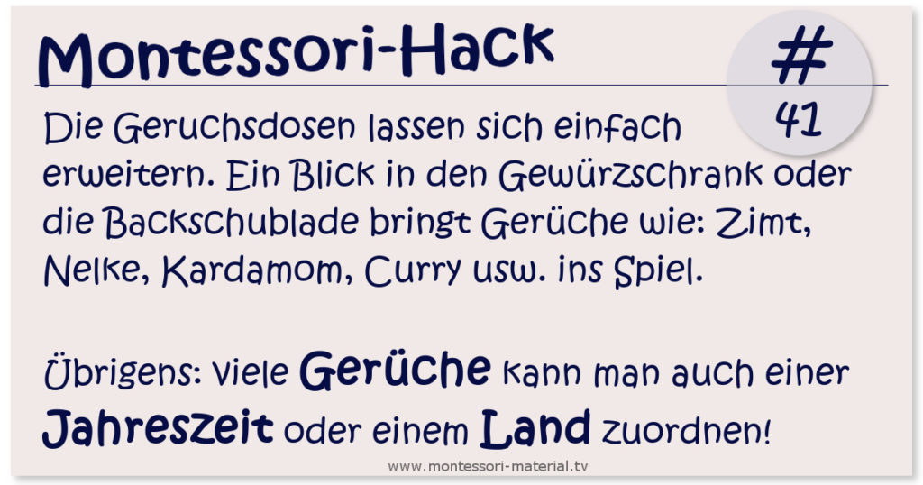 Montessori-Hack 41 - Der Geruchssinns