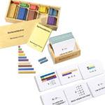 Aufgabenkartei zum Zahlenraum bis 10 inklusive 200 farbige Montessori-Rechenstäbchen