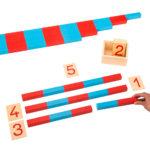 blau - rote Numerische Stangen nach Maria Montessori