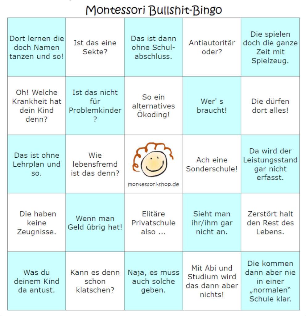 Montessori Vorurteile BullShit-Bingo