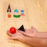 Montessori-Material Wortartensymbole als Körper aus Holz
