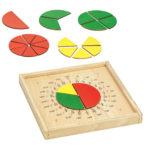 Bruchrechenkreise Montessori-Material zum Bruchrechnen aus Holz