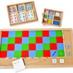 Großes Multiplikationsbrett mit Perlen und Ziffern, Montessori-Material zum Multiplizieren mit großen Zahlen